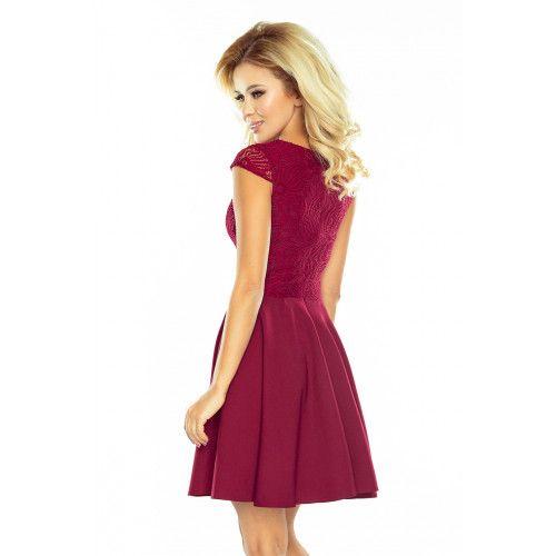 Sukienka rozkloszowana MARTA z koronką - BORDOWA XL zdjęcie 4