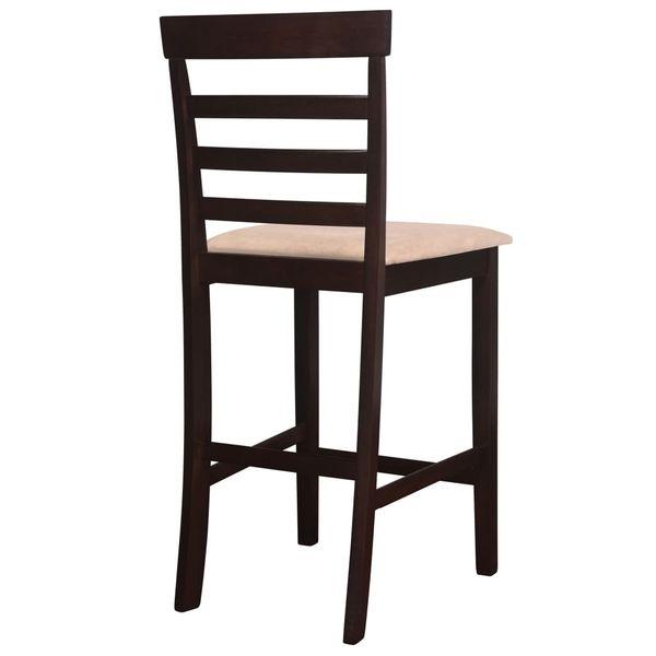 Stół I Krzesła Barowe, Lite Drewno, Ciemnobrązowe zdjęcie 8