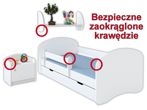 Łóżko dziecięce HAPPY 140x70 z szufladą i materacem – niebieskie na Arena.pl