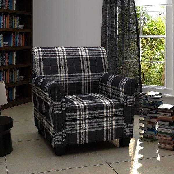 Fotel Tapicerowany Z Poduszką Materiałowy W Kratę