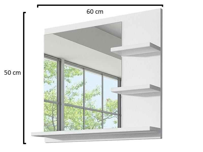 Białe Lustro Do łazienki Z 3 Półkami Lampa Led