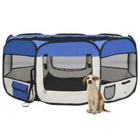 Lumarko Składany kojec dla psa, z torbą, niebieski, 145x145x61 cm