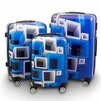 walizki zestaw niebieska w nieb/biale kwadraty