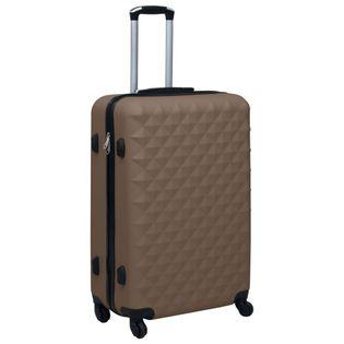 Twarda walizka na kółkach brązowa ABS VidaXL