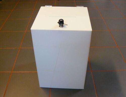 Urna skarbonka puszka skrzynka z plexi mlecznej 30x30x45 cm na Arena.pl