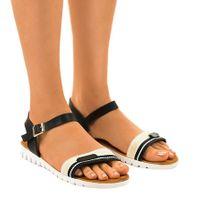 Czarne płaskie sandały damskie G-513-01 r.40