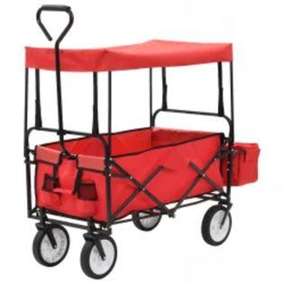 Składany wózek ręczny z zadaszeniem stalowy czerwony VidaXL