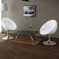 Krzesła barowe, 2 szt., białe, sztuczna skóra