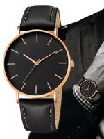 Czarny zegarek na pasku z ekoskóry