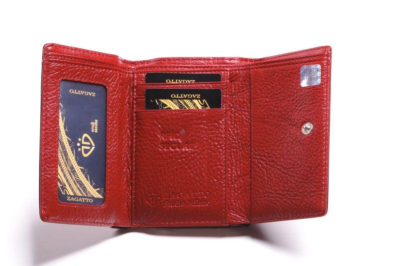 Mały portfel skórzany damski Zagatto czerwony liście RFID ZG-117 Leaf zdjęcie 4