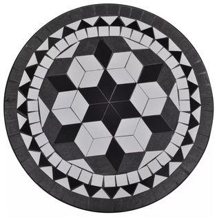 BISTRO MOZAIKA stolik 60cm, do ogrodu, na taras czarno-biały