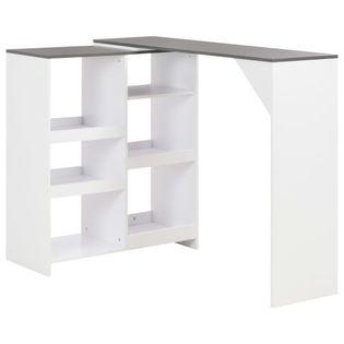 Stolik barowy z ruchomym regałem, biały, 138 x 40 x 120 cm