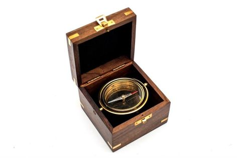 Mosiężna busola Gimble w pudełku z palisandru UPOMINKARNIA COM-0401