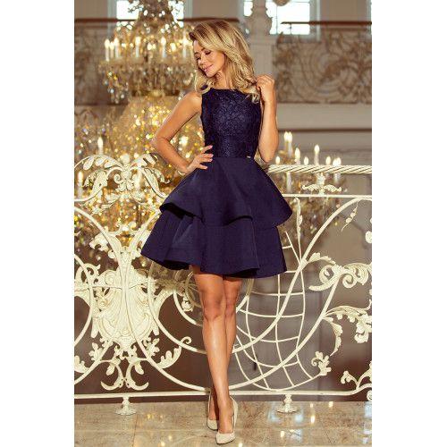 LAURA podwójnie rozkloszowana sukienka z koronkową górą - GRANATOWA XL zdjęcie 3