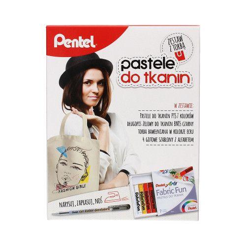 Pastele do tkanin 7 kol. + długopis żelowy + torba Pentel - HIT! na Arena.pl