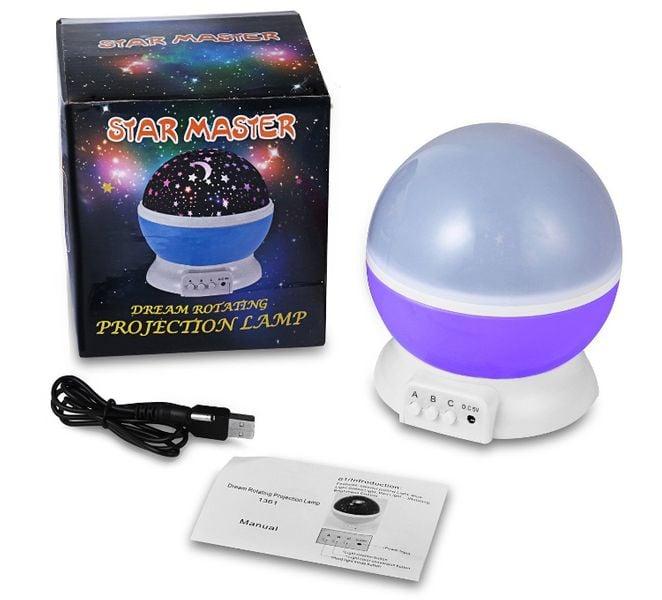Lampka nocna dziecięca projektor gwiazd nieba obrotowa Y67 zdjęcie 11