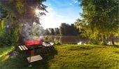 Grill ogrodowy węglowy z półkami i rożnem D98 zdjęcie 2