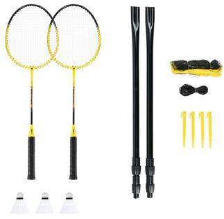 Zestaw rakiet do badmintona + lotki z piór 3 sztuki + siatka 600x60cm + pokrowiec Nils NRZ262 aluminium