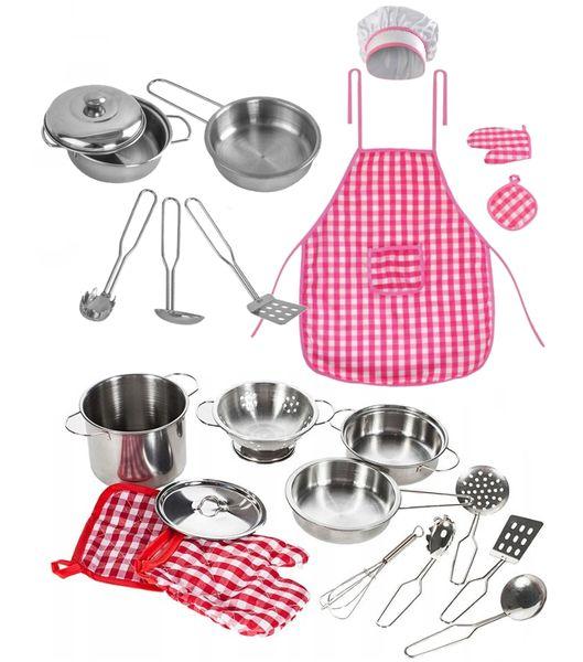 Kuchnia Drewniana Dla Dzieci Kuchenka Metalowe Garnki Światła Akcesoria Z371K zdjęcie 7