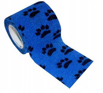 Bandaż kohezyjny samoprzylepny 5cm x 4,5m niebieski w łapki
