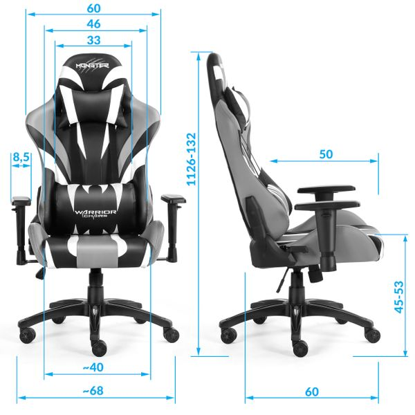 Monster Blue Fotel Gamingowy Warrior Chairs