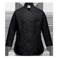 Bluza kucharska damska Rachel z długimi rękawami - BLACK; XXL