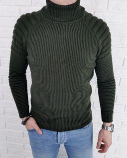 Ciepły męski sweter golf khaki z bikerem 2002 - XL