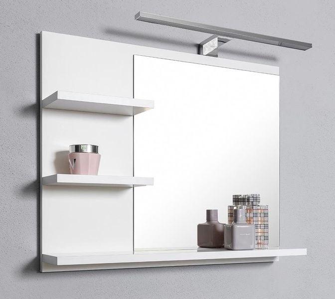 Białe Lustro łazienkowe Z 3 Półkami I Kinkietem Led L Do łazienki