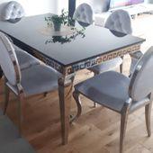Stół glamour London stal polerowana blat kamienny 150x90