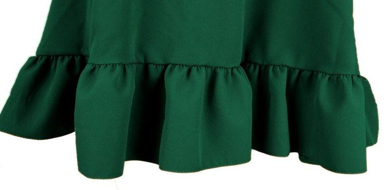 8aeb330771 Sukienka trapezowa z efektowną falbaną i kieszeniami- butelka Rozmiar - 36  zdjęcie 3