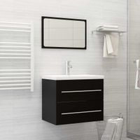 Lumarko 2-częściowy zestaw mebli łazienkowych, czarny, płyta wiórowa!