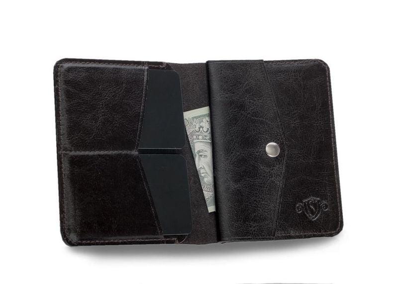 2e239563b44ab Cienki skórzany męski portfel z bilonówką Solier SLIM ciemny brąz zdjęcie 2