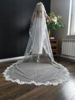 Welon ślubny ślub biały długi3m koronka grzebieńPL