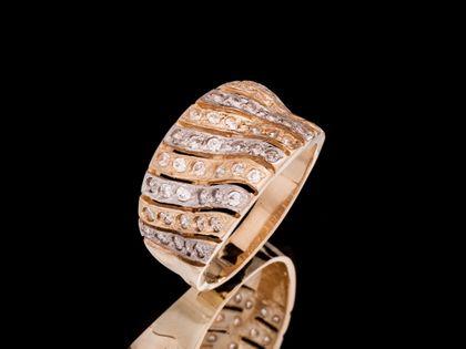 P528 Złoty pierścionek ażurowy  z cyrkoniami /333