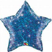 Balon foliowy 50 cm Gwiazda holo niebieska URODZIN