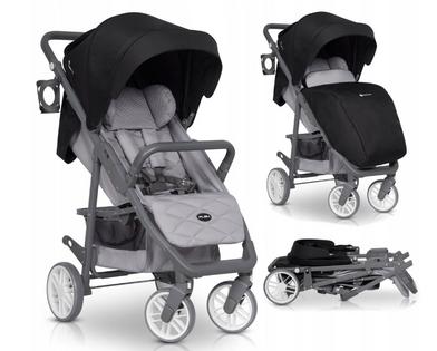 Euro-Cart FLEX wózek spacerowy do 22kg +ocieplacz Antracite