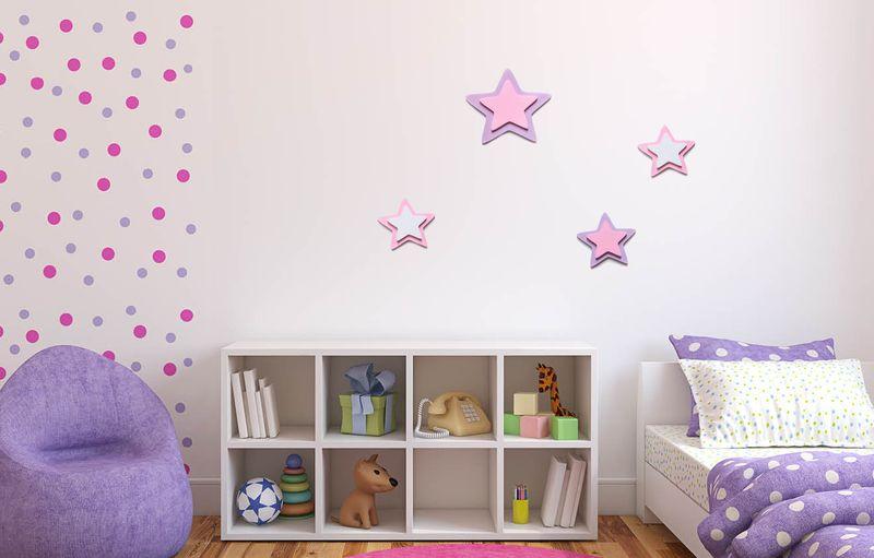 Pastelowe Gwiazdki Drewniana Ozdoba Na ścianę Do Pokoju Dziecka