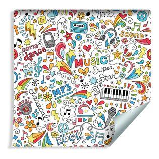 Tapeta Dla Dzieci - Kolorowy Wzór Muzyka, Instrumenty, Nuty