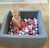 Suchy basen dla dzieci z piłeczkami 90x90 kwadratowy - szary 300 piłeczek Color - Grey