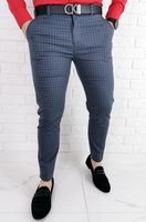 Stalowe eleganckie meskie spodnie slim w czarna drobna krate 1538 - 34