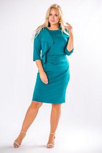 Dopasowana sukienka z ozdobną falbaną na biuście - Zielony 46