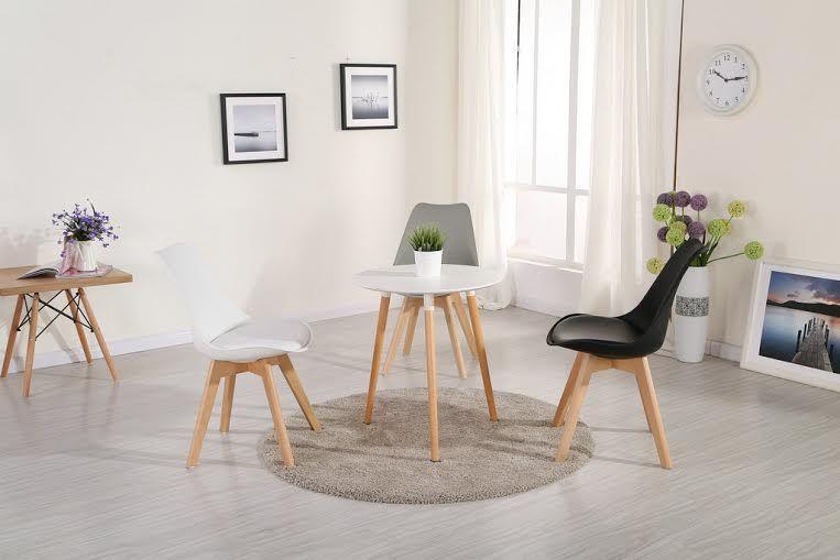 Skandynawskie krzesło CZARNE/BUK KRIS LUGANO TULIP poduszka CL001 dsw zdjęcie 3