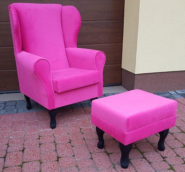 Fotel uszak różowy gładki zdjęcie 2