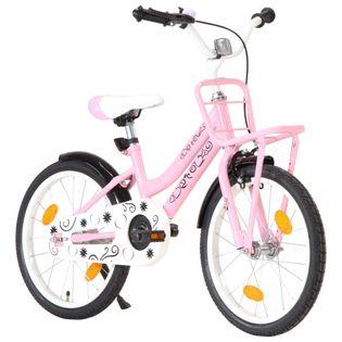 """Rower dziecięcy z przednim bagażnikiem, 18"""", różowo-czarny"""