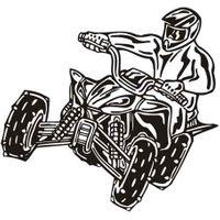Naklejka dekoracyjna D 82, D82 moto quad motocykl Rozmiar - M, Kolor - Zielony, Odbicie lustrzane - Tak
