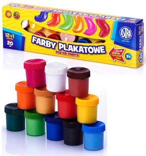 Farby plakatowe ASTRA 12 kolorów 20 ml  + 1 GRATIS