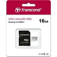 Transcend Memory microSDHC - Karta pamięci 16 GB Class 10 UHS-I U1 95/10 MB/s z adapterem