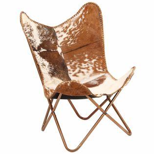 Krzesło Motyl, Brązowo-Białe, Naturalna Kozia Skóra