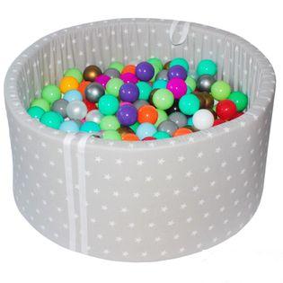 Suchy basen z piłkami 200 szt - roczek prezent chrzciny grube dno