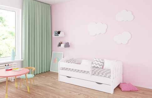 Łóżko CLASSIC II 160 x 70 szuflada + barierka ochronna + MATERAC